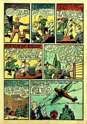 A cartoon airplane and laboratory is drawn in this rare old comci book from the golden age of comics