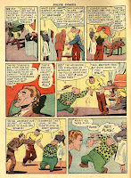 Plastic Man's fre4ind and sidekick, Woozy Winks wears a green blouse with polka dots and fights criminals in this vintage golden age comic book cartoon page by artist Alex Kotzky.