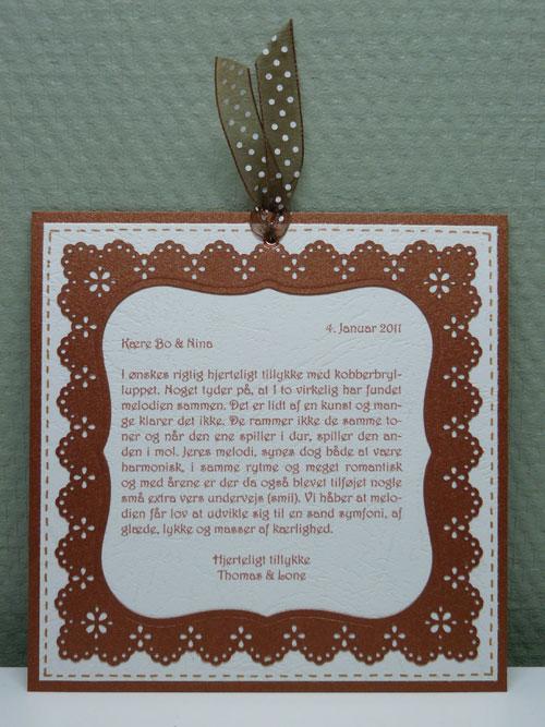citat til kobberbryllup Tullemusens Kreative Hjørne: Godt Nytår og Kobberbryllup citat til kobberbryllup