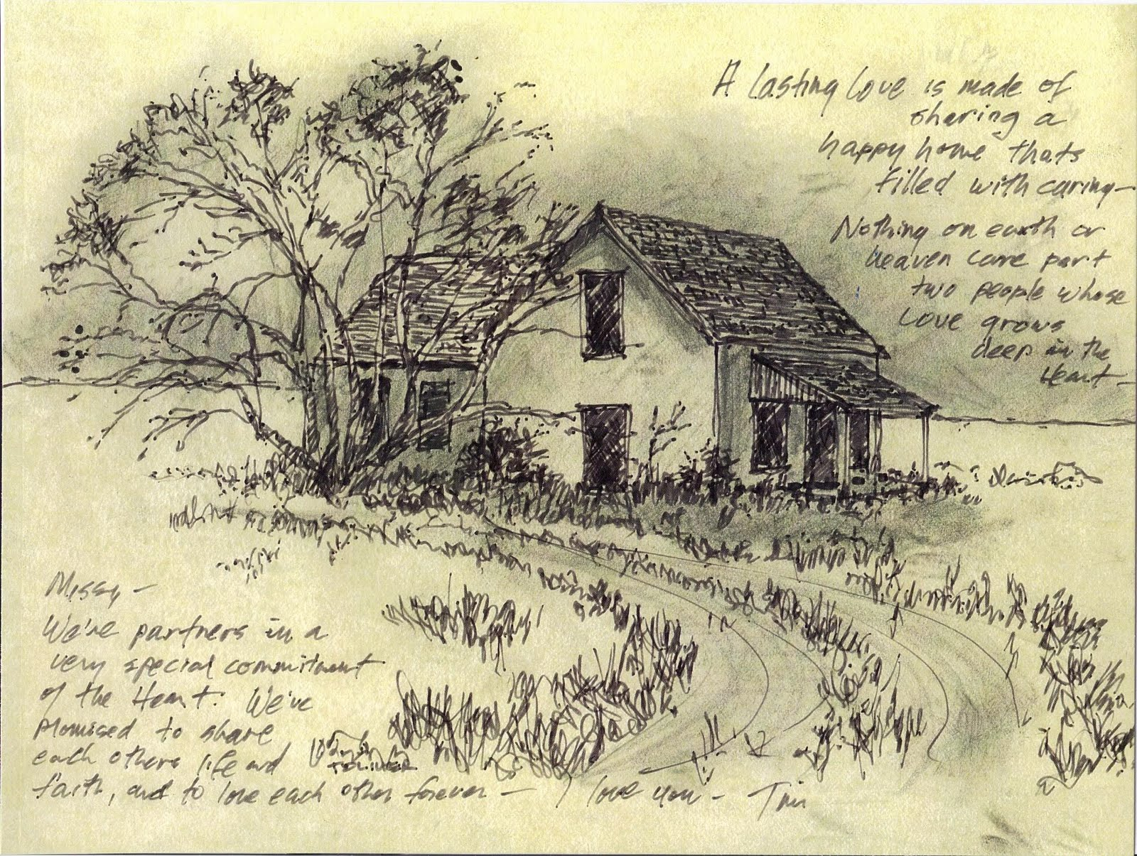 Old Farmhouse West Of Rich Lake Terry Co TX Fine Sharpie And Pencil On Yellow Tracing Paper