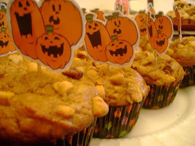 pumpkin butterscotch muffins with Halloween themed toppers