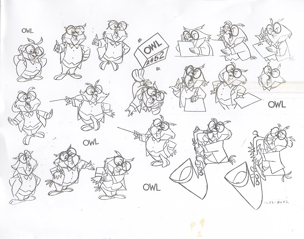 Buttermilk Skies Disney Model Sheet Owl