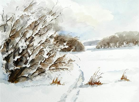 Dieter Demattio  Aquarelle Winterlandschaft