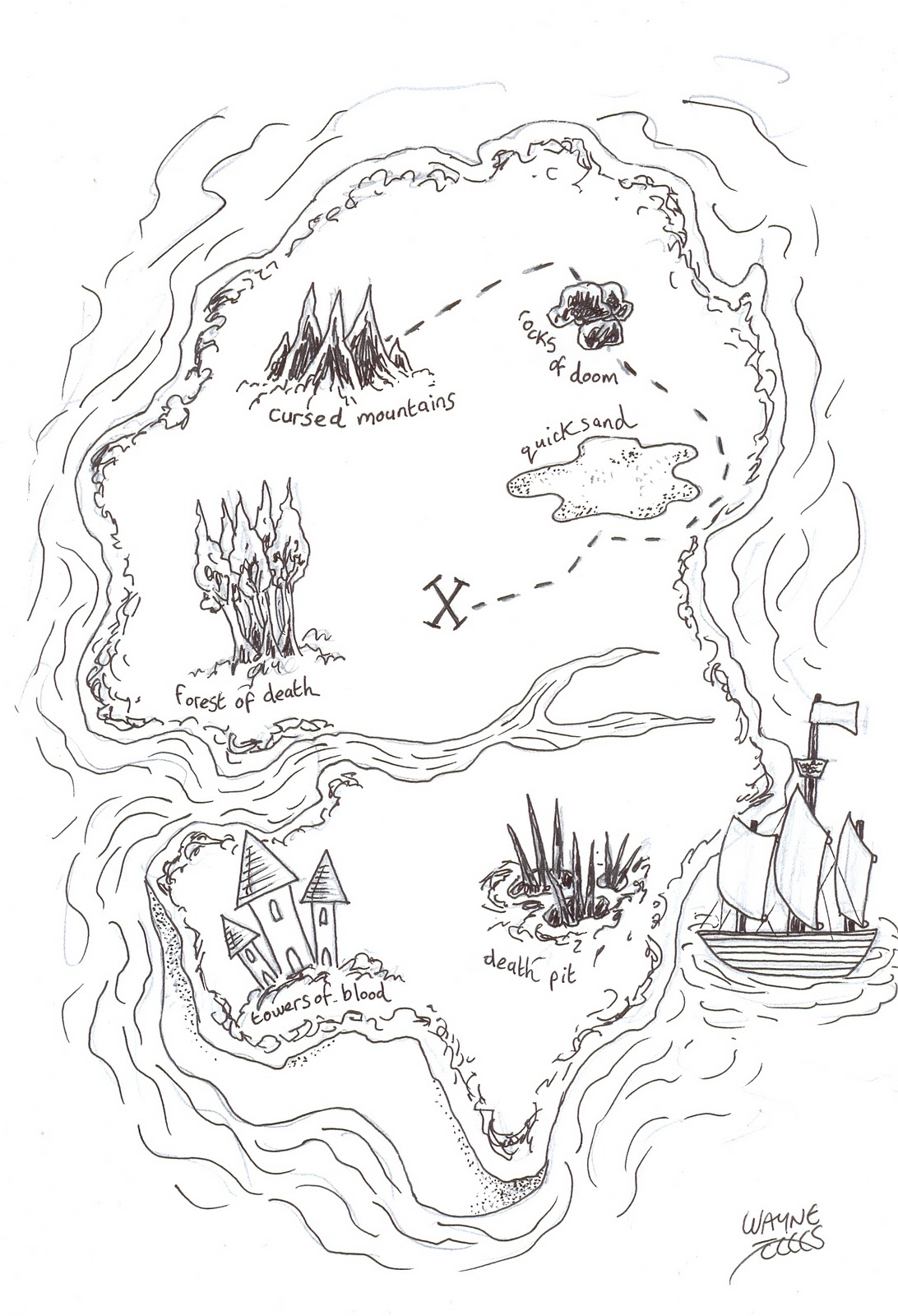 wayne tully horror art how to draw and create a treasure map part 2
