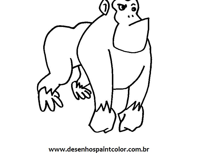 Colorindo Com A Dry: DESENHO DE GORILA PARA IMPRIMIR E