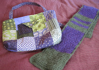 hand made purse and scarf