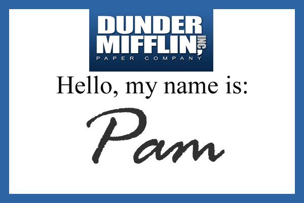 photo regarding Dunder Mifflin Name Tag Printable identified as Magnificent Halloween: Pam Beasley Halpert The Gorgeous Sisters