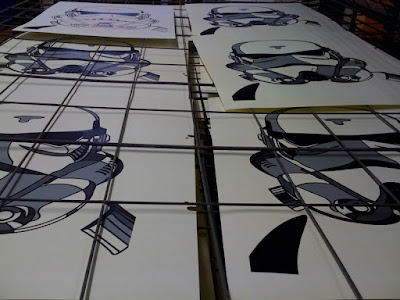 Star Wars - Production of David Flores' White Rebel (Stormtrooper) Screen Print