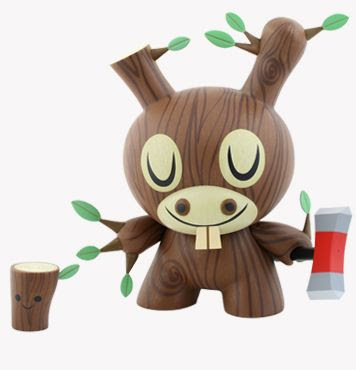 Kidrobot - Wood Donkey 8 Inch Dunny with Ax and Tree Stump by Amanda Visell