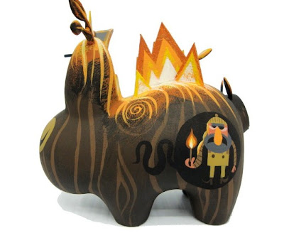 Hand Painted Custom Burning Wood Labbit by Amanda Visell