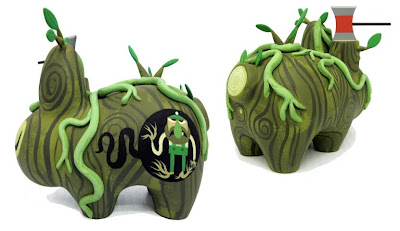 Hand Painted Custom Swamp Thing Wood Labbit by Amanda Visell