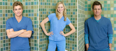 Scrubs Season 9 New Cast Members - David Franco as Med Student Cole Aaronson, Kerry Bishe as Med Student Lucy Bennett & Michael Mosley as Med Student Drew Suffin