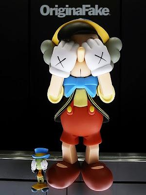 Disney x Medicom Pinocchio & Jiminy Cricket Vinyl Figures by Kaws