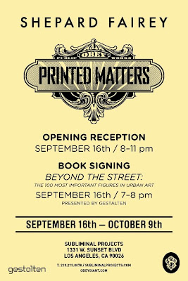 Printed Matters Exhibition by Obey Giant's Shephard Fairey at Subliminal Projects Flyer