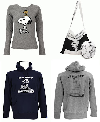Peanuts 60th Anniversary Clothing & Accessory Collection - Lucien Pellat-Finet x Peanuts Cashmere Sweater, N.Hollywood x Peanuts Bag and Pillow Set, Loopwheeler x Peanuts Friendship Hoodie and Gray Be Happy Flying Ace Hoodie