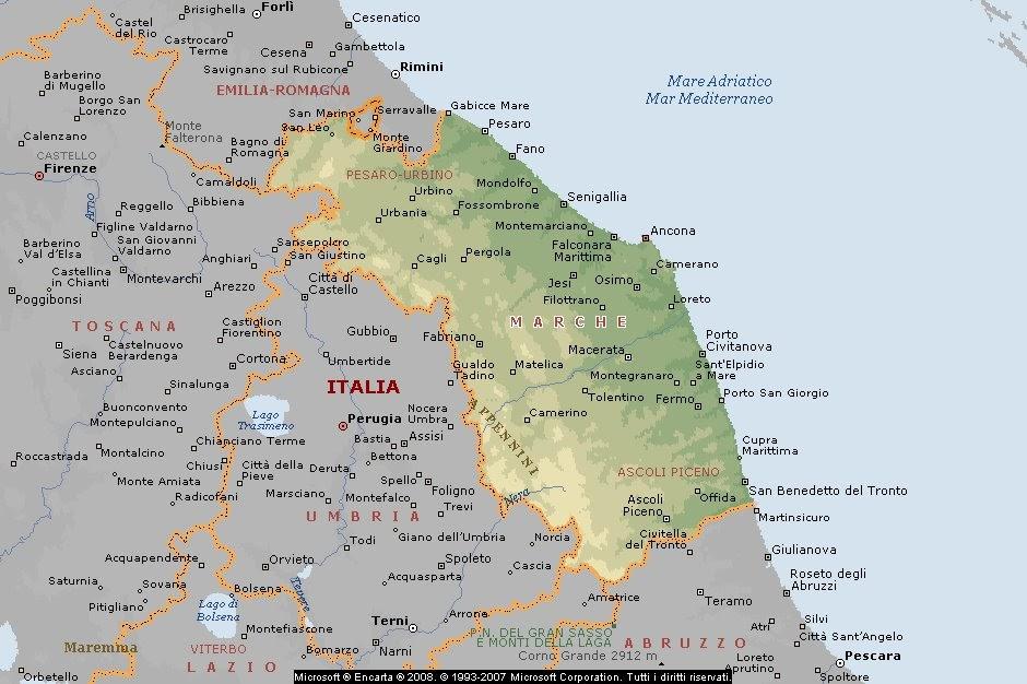 Cartina Geografica Marche.Geografia Carta Geografica Italia Cartine Geografiche