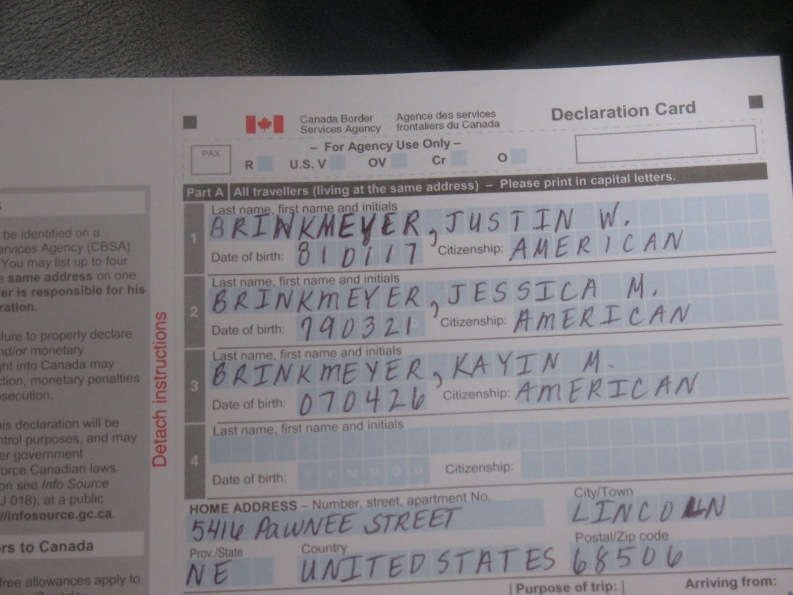 canada declaration card sample