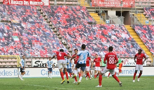 Virtual fans line the stands to watch the Triestina-Padova match in Trieste