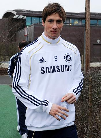 Fernando Torres training with Chelsea