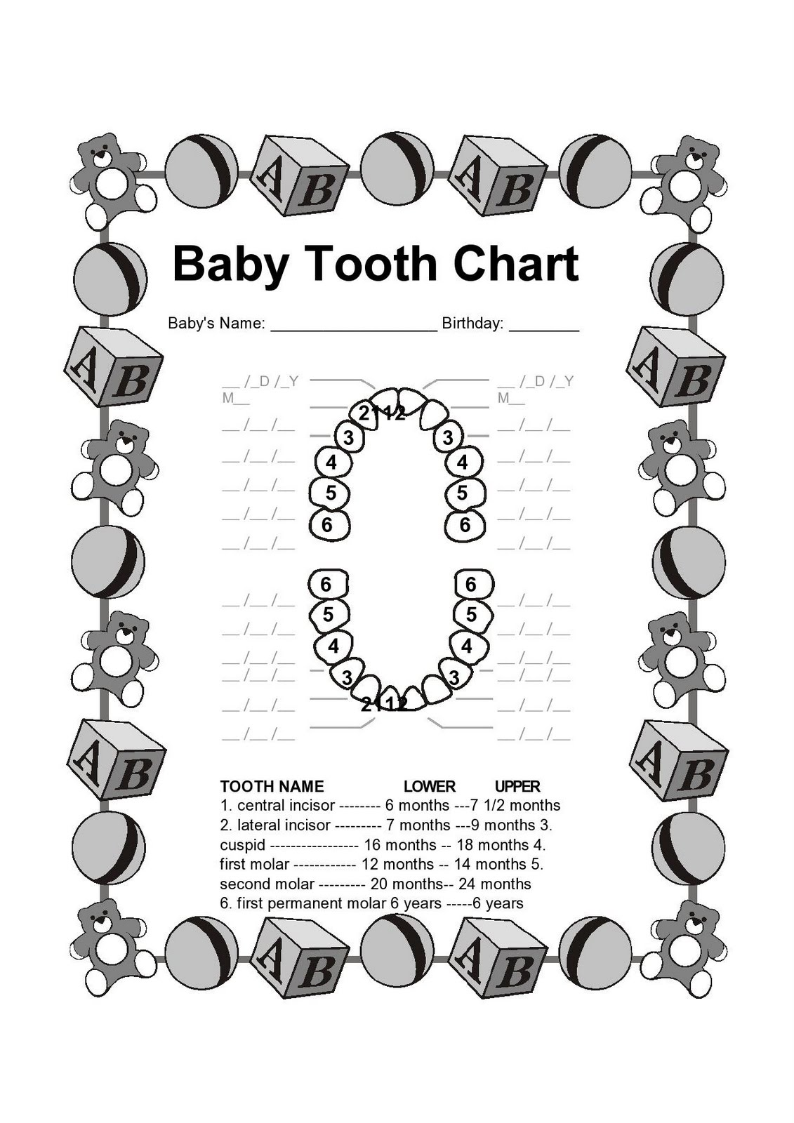 Printable Dental Cartoon Characters