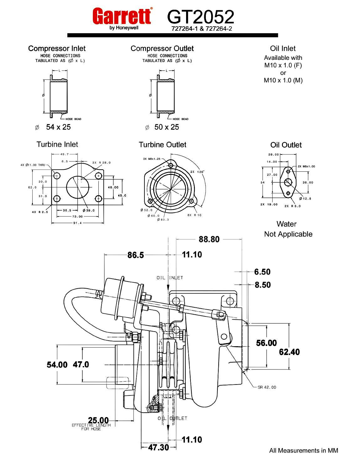 Garrett Gt20 Gt2052 52 Trim 225 Hp Turbocharger Specs 1999 Disco 2 Wiring Diagram Turbo Measurements In Mm Flanges Diameter Flange Honeywell 1098x1468