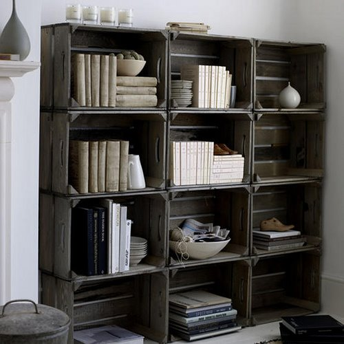 Really want to do this - using crates as shelves - but I am having a heck of a time finding the crates! Suggestions?