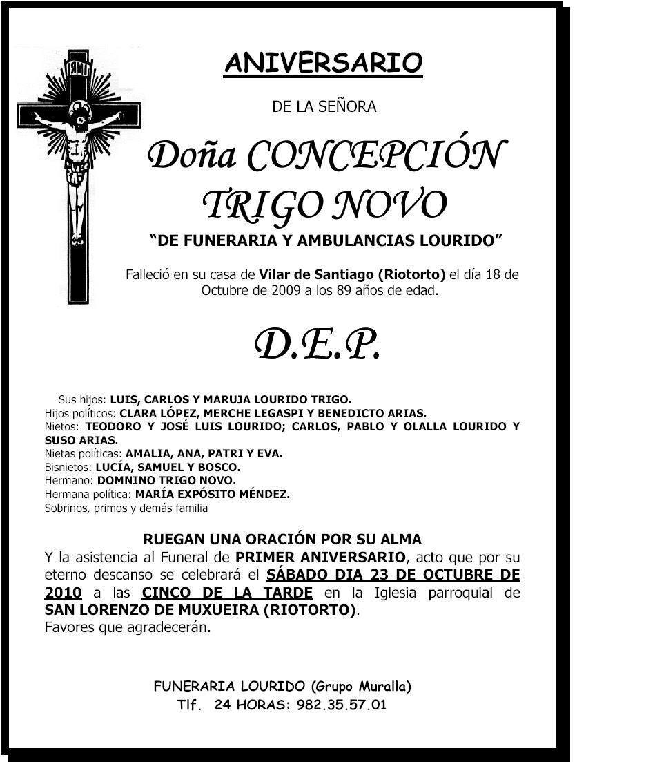 A Pontenova Esquela Aniversario Concepción Trigo Novo De Funeraria