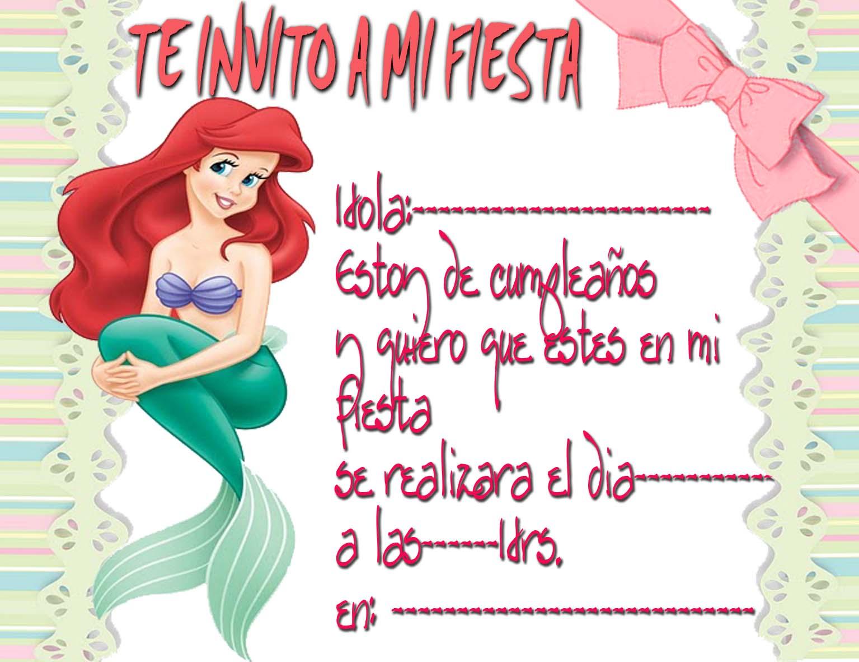 Tarjetas De La Sirenita Para Imprimir Gratis Imagui