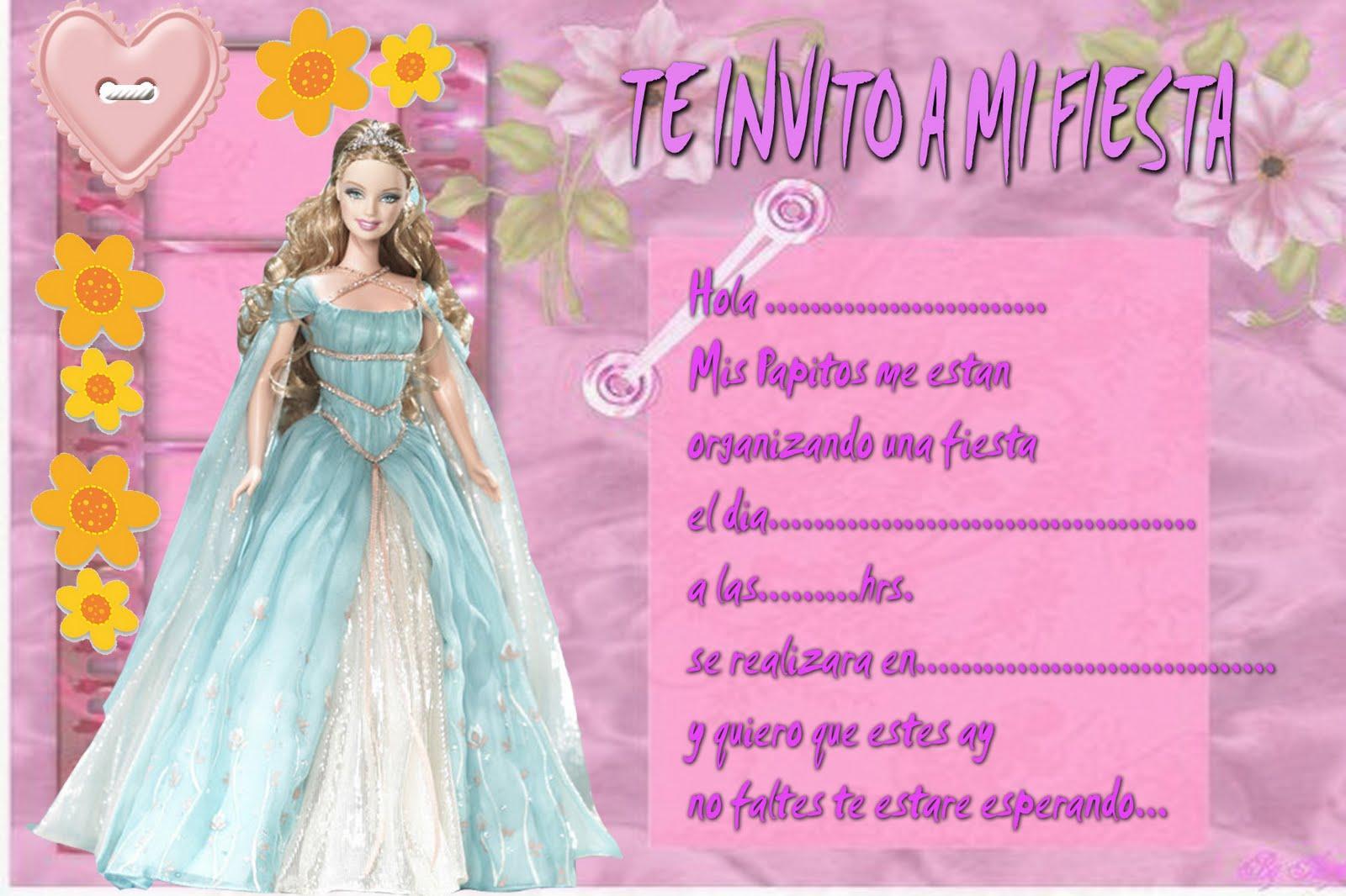 Tarjetas Invitación Barbie Para Imprimir Imagui