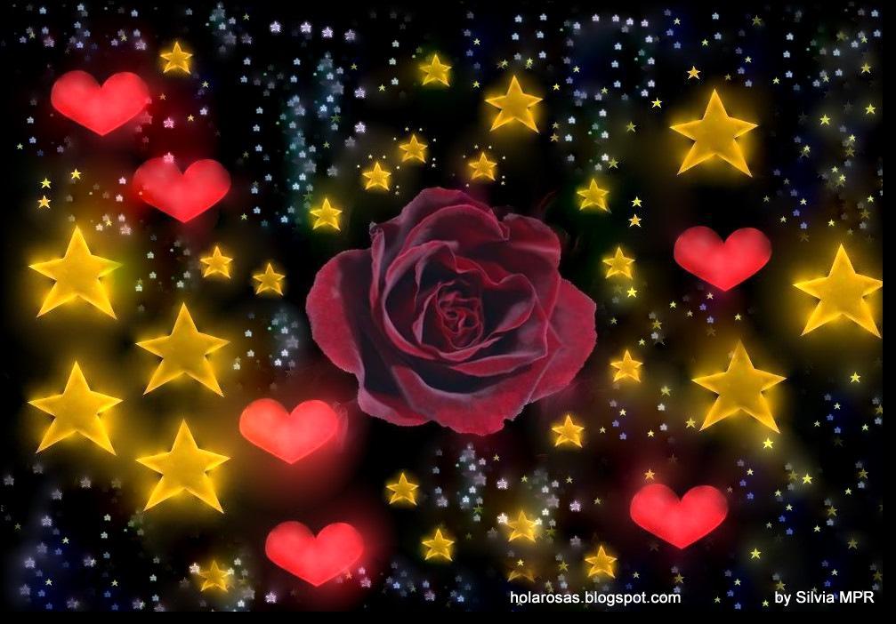 Fondo Primavera álbum Classic Flor Y Estrellas: Fondo De Estrellas Animadas Con Movimiento Y Brillo