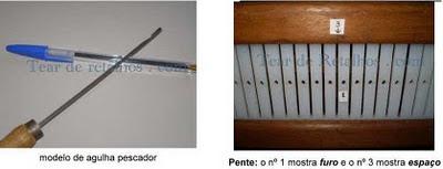 Fotos mostrando uma agulha pescador contrastando-a com uma caneta para dar ideia de tamanho e detalhe de um pente, mostrando os furos e os espaços desse pente.