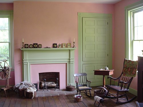 Pink — green interior — modern house design