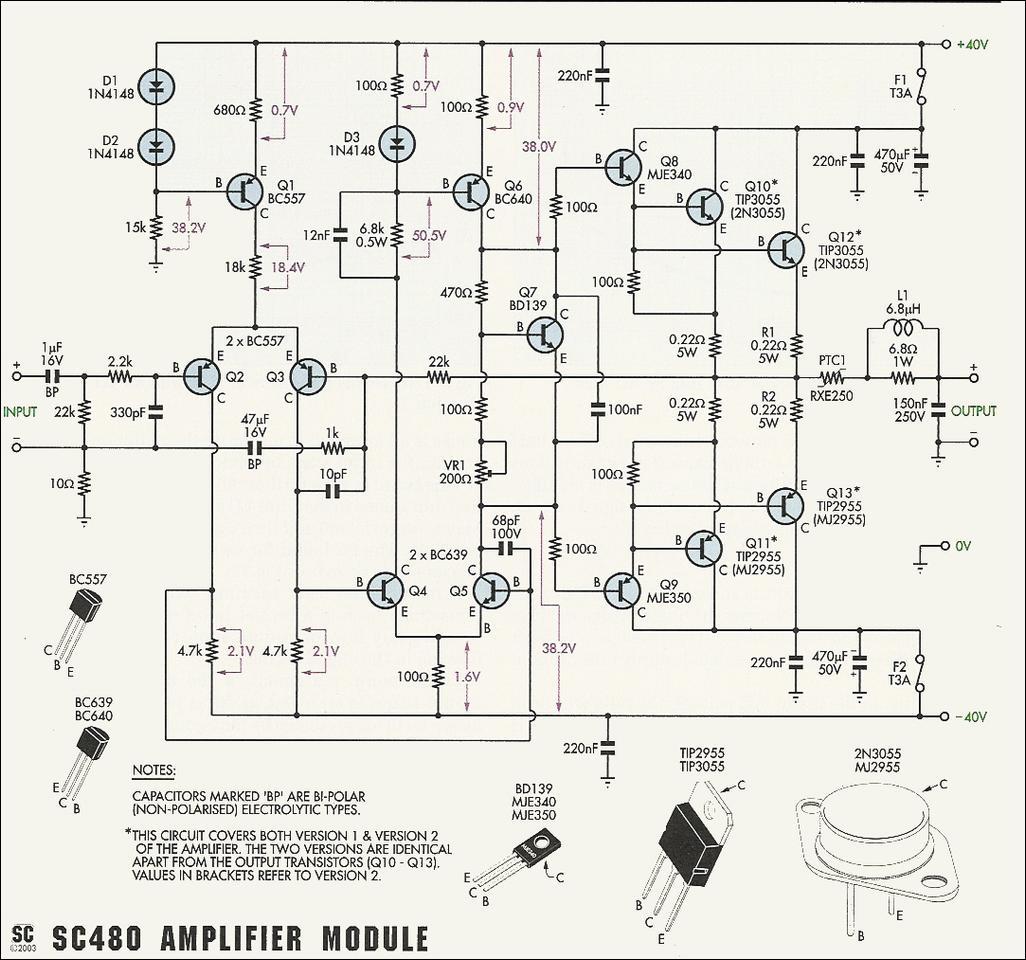transistor 2n3055 power amplifier otl 100w