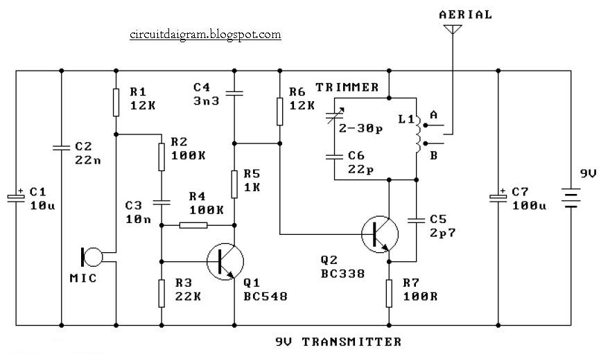 circuit diagram 9v fm radio transmitter circuit diagram Radio Shack Schematic Diagrams here the simple and low cost fm transmitter circuit the frequency range of this fm transmitter should be about 89mhz 109mhz output power is about 9mw at