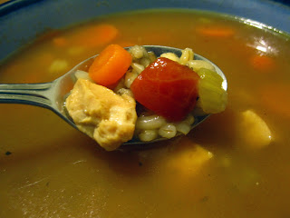 Morsels of Life - Chicken and Wild Rice Soup - This warming chicken soup flavored with a mirepoix and filled out with grains is sure to warm you up on a cold winter day.