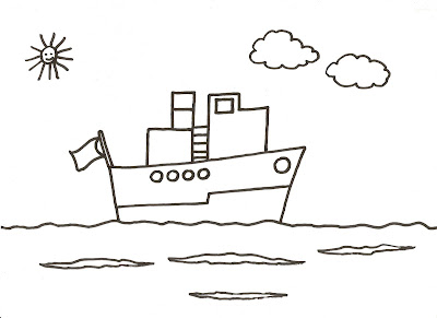 Dibujos Para Pintar Y Colorear De Barcos Barquito En Alta Mar
