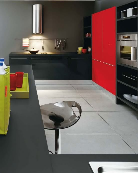 Kitchen Set Colour Combination Black White And Red