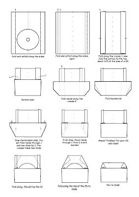 Easy Origami CD case diagrams