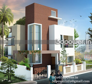 """3d rendering of small bungalow"""