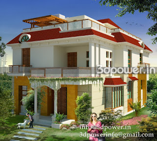 """architectural rendering bungalow exterior"""