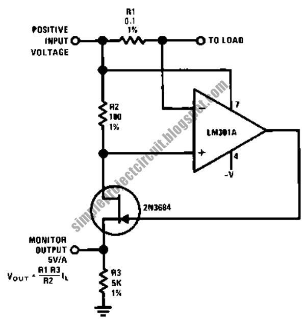 circuit schematic diagram of current monitor