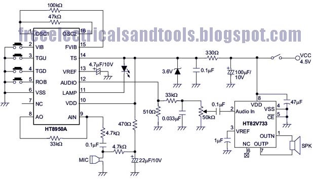 Wiring panel: Sound Shifter Using IC HT8950