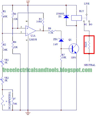 wiring free: Thermostat Circuit Using LM358