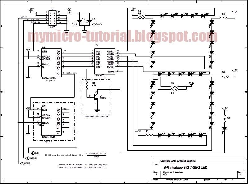 circuit diagram: SPI Interface Circuit for Big 7 Segment LED