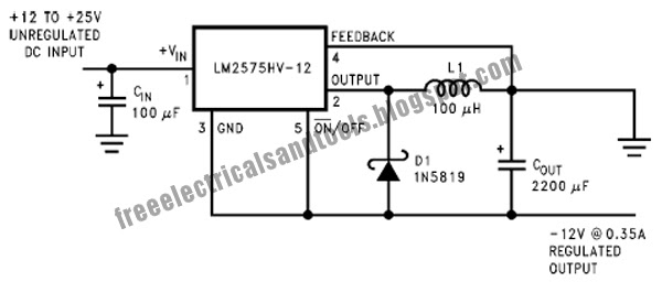 Free Schematic Diagram: Inverting Buck Boost Circuit Using