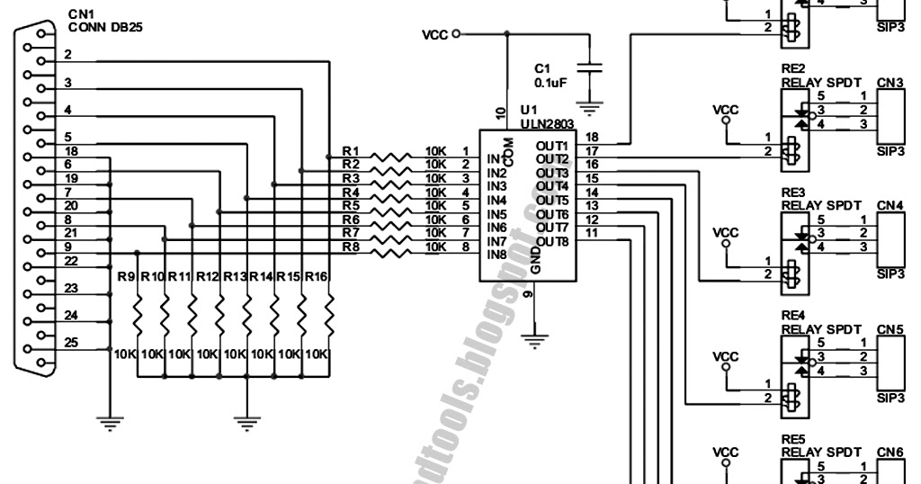 Free Schematic Diagram: 8 Channel LPT Relay Circuit