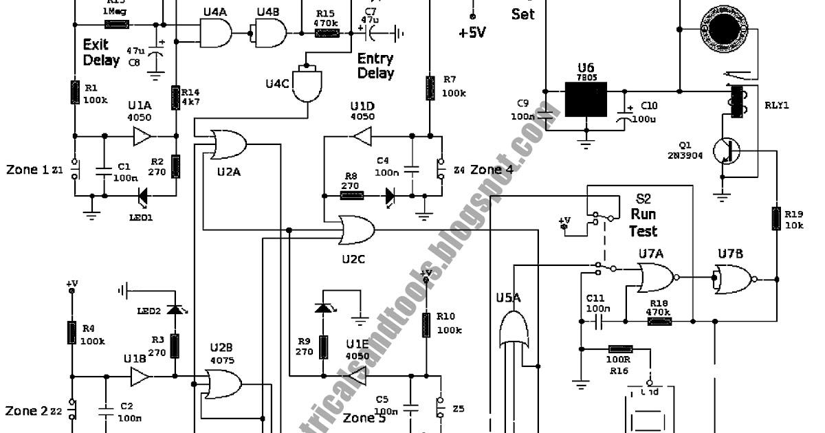 Free Schematic Diagram: Zone Alarm 6 with Seven Segment