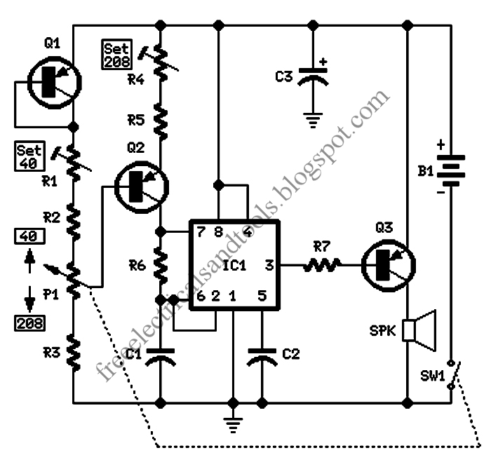 Free Schematic Diagram: Electronic Metronome Circuit