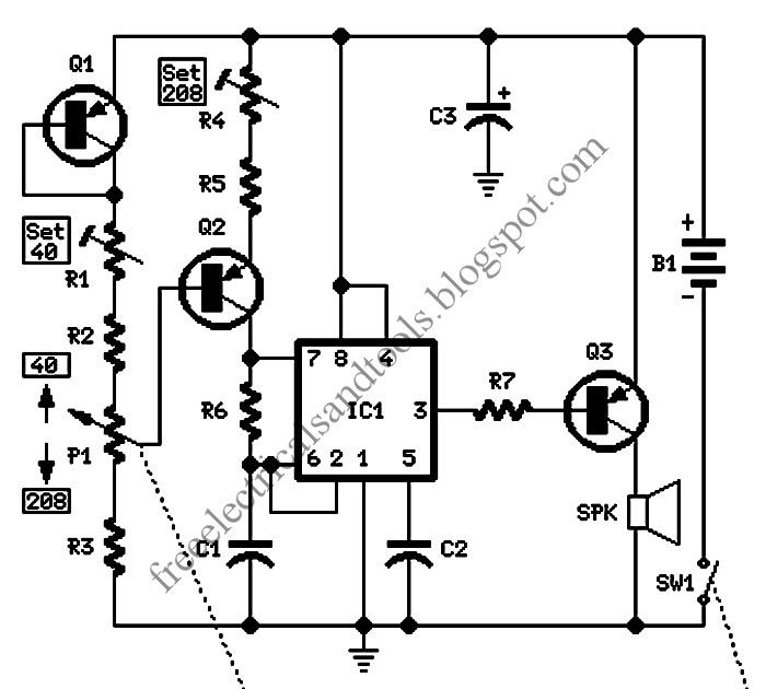 Free Schematic Diagram: Electronic Metronome Circuit