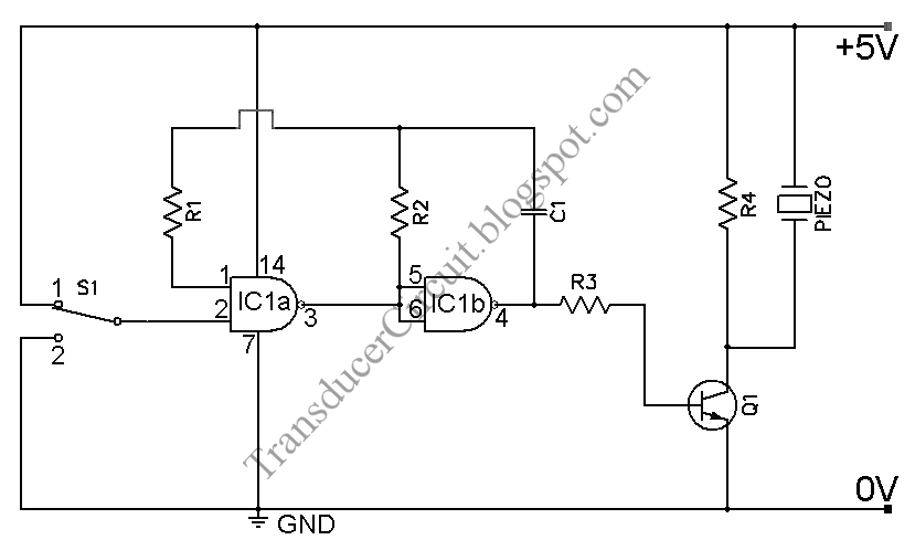a cmos gate and transistor buffer can be used as an effective driver for a  piezoelectric or piezoceramic transducer  this circuit is powered by 5 vdc